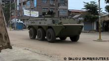 An army vehicle is seen at Kaloum neighbourhood during an uprising by special forces in Conakry, Guinea September 5, 2021. REUTERS/Saliou Samb NO RESALES. NO ARCHIVES