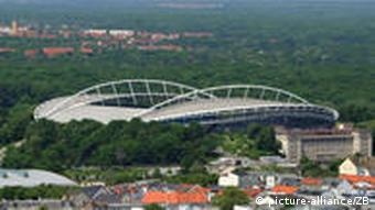 A view of Leipzig with the Red Bull Arena in the background