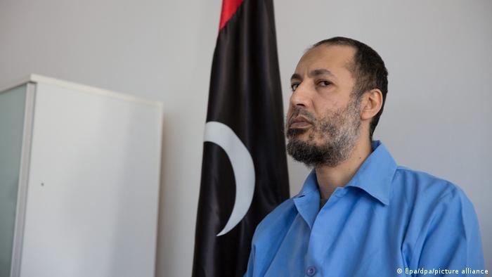 Saadi Gaddafi, son of former Libyan leader Moammar Gadhafi, waits before a trial session at a courtroom in Tripoli, Libya, in December 2015.
