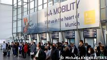 06.09.21 *** Exhibitors arrive ahead of the Munich Motor Show IAA Mobility 2021 in Munich, Germany, September 6, 2021. REUTERS/Michaela Rehle