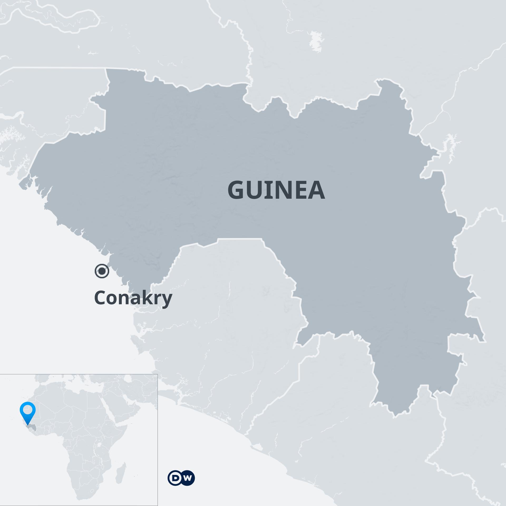 Infografik Karte Guinea Conakry EN, FR,DE