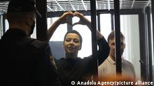 MINSK, BELARUS - AUGUST 04: A court hearing on the criminal case against Maria Kolesnikova and Maxim Znak is being held in Minsk, Belarus on August 04, 2021. Stringer / Anadolu Agency