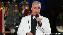 MOSCOW, RUSSIA - SEPEMBER 5, 2021: Lead vocalist Till Lindemann of the German rock band Rammstein performs at the closing of the 2021 Spasskaya Tower International Military Music Festival in Moscow's Red Square. Sergei Karpukhin/TASS