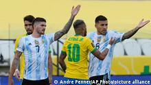 Brazil's Neymar, center, Argentina's Rodrigo De Paul, left, and Argentina's Nahuel Lucero gesture during a qualifying soccer match for the FIFA World Cup Qatar 2022 at Neo Quimica Arena stadium in Sao Paulo, Brazil, Sunday, Sept.5, 2021. (AP Photo/Andre Penner)