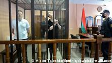 6644308 06.09.2021 Maria Kolesnikova and Maksim Znak, members of the Belarusian opposition coordination council's presidium, accused of conspiring to seize state power, calling for actions aimed at causing harm to national security, and creating an extremist group, attend a hearing at the Minsk District Court, Belarus. A court on Monday sentenced key opposition figure Maria Kolesnikova, who led mass protests against President Alexander Lukashenko last year, to 11 years in prison on national security charges. Maxim Znak was also handed a 10-year prison sentence. Viktor Tolochko / Sputnik