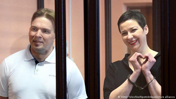 Максим Знак и Мария Колесникова во время вынесения им приговора, 6 сентября