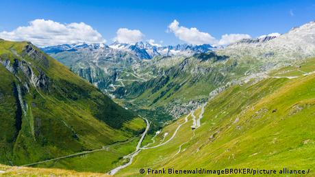 The winding road to the Furka mountain pass in Switzerland