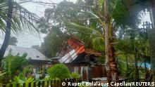 A destroyed building is pictured in the aftermath of tropical storm Consons in Dimasalang, Mastabe, Philippines September 7, 2021 in this picture obtained from social media. Rupert Bulalaque Capellan/via REUTERS THIS IMAGE HAS BEEN SUPPLIED BY A THIRD PARTY. MANDATORY CREDIT. NO RESALES. NO ARCHIVES.