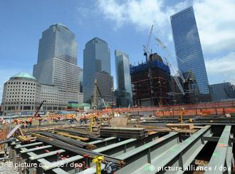 Ground Zero in 2010, blue sky and skyscrapers in the background