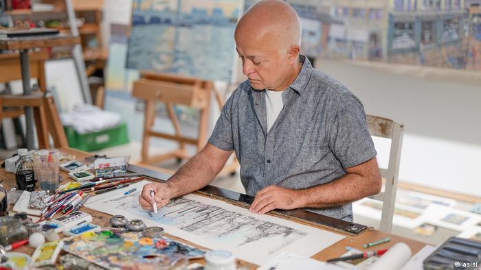 Yadegar Asisi working on the panorama New York 9/11.