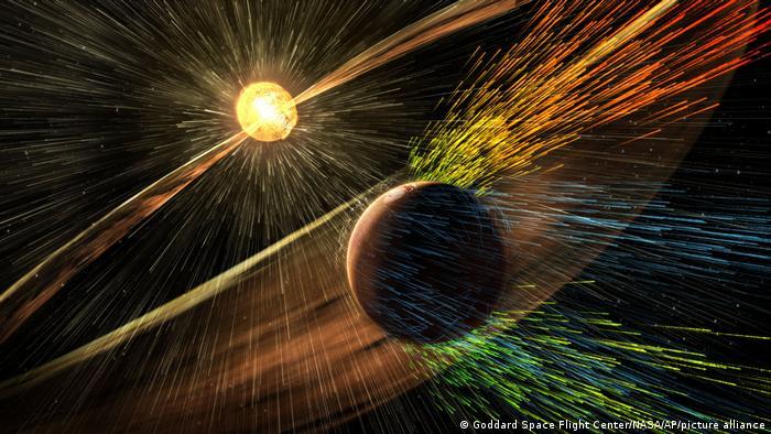 Representación artística de una tormenta solar que golpea Marte y elimina los iones de la atmósfera superior del planeta.