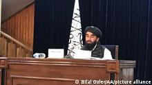 KABUL, AFGHANISTAN - SEPTEMBER 07: Taliban spokesperson Zabihullah Mujahid holds a press conference in Kabul, Afghanistan on September 07 2021. Mullah Mohammad Hasan Akhundzada is announced to lead Taliban's administration in Afghanistan. Bilal Guler / Anadolu Agency
