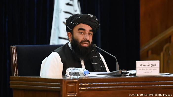 Taliban spokesperson Zabihullah Mujahid holds a press conference in Kabul, Afghanistan on September 07 2021