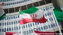 VIENNA, AUSTRIA - MAY 24: The flag of Iran is seen in front of the building of the International Atomic Energy Agency (IAEA) Headquarters ahead of a press conference by Rafael Grossi, Director General of the IAEA, about the agency's monitoring of Iran's nuclear energy program on May 24, 2021 in Vienna, Austria. The IAEA has been in talks with Iran over extending the agency's monitoring program. Meanwhile Iranian and international representatives have been in talks in recent weeks in Vienna over reviving the JCPOA Iran nuclear deal. (Photo by Michael Gruber/Getty Images)