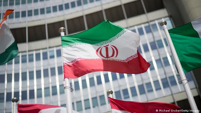 Iranian flag seen before the IAEA building in Vienna