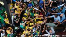 Brazilian President Jair Bolsonaro greets his supporters as they gather to back the far-right leader in his dispute with the Supreme Court, in Sao Paulo, Brazil, September 7, 2021. REUTERS/Amanda Perobelli