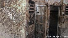Block C2 prison is pictured following a fire overnight at an overcrowded jail in Tangerang on the outskirts of Jakarta, Indonesia, September 8, 2021, in this photo taken by Antara Foto/Handout/Bal/via REUTERS. ATTENTION EDITORS - THIS IMAGE WAS PROVIDED BY THIRD PARTY. MANDATORY CREDIT. INDONESIA OUT.