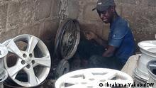 HdM: Kaduna Autofelge (M) Foto: Ibrahima Yakubu/DW, 30.08.2021 in Kaduna, Nigeria