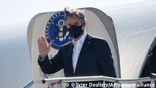 U.S. Secretary of State Antony Blinken disembarks from an aircraft upon arrival at the Ramstein U.S. Air Base, Germany Wednesday, Sept. 8, 2021 (Olivier Douliery/Pool Photo via AP)