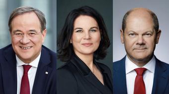 Кандидаты в канцлеры ФРГ Армин Лашет, Анналена Бербок, Олаф Шольц (слева направо)