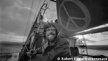 Lyle Thurston, ship doctor on-board the Phyllis Cormack (also called Greenpeace), stands on deck for a cigarette. This is a photographic record by Robert Keziere of the very first Greenpeace voyage, which departed Vancouver on the 15th September 1971. The aim of the trip was to halt nuclear tests in Amchitka Island by sailing into the restricted area. Crew on-board the ship, are the pioneers of the green movement who formed the original group that became Greenpeace. !! Bildmaterial zur einmaligen, redaktionellen Nutzung im Rahmen der Berichterstattung 50 Jahre Greenpeace !!