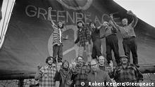 The crew of the Phyllis Cormack (also called Greenpeace) on-board the ship. Clockwise from top left: Hunter, Moore, Cummings, Metcalfe, Birmingham, Cormack, Darnell, Simmons, Bohlen, Thurston, Fineberg. This is a photographic record by Robert Keziere of the very first Greenpeace voyage, which departed Vancouver on the 15th September 1971. The aim of the trip was to halt nuclear tests in Amchitka Island by sailing into the restricted area. Crew on-board the ship, are the pioneers of the green movement who formed the original group that became Greenpeace. !! Bildmaterial zur einmaligen, redaktionellen Nutzung im Rahmen der Berichterstattung 50 Jahre Greenpeace !!