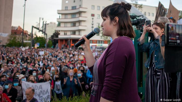 Nina Kovac speaking at a protest against the controversial Water Act in May 2021