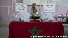 RABAT, MOROCCO - SEPTEMBER 08: People arrive to cast their votes in the parliamentary and municipal elections, at a polling station in Rabat, Morocco on September 08, 2021. Jalal Morchidi / Anadolu Agency