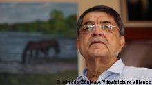 Der nicaraguanische Schriftsteller Sergio Ramirez, spricht am 16.11.2017 in Managua (Nicaragua) mit der Presse. Ramirez wurde mit dem diesjährigenCervantes-Literaturpreis ausgezeichnet. (zu dpa Nicaraguaner Sergio Ramírez erhält Cervantes-Literaturpreis am 16.11.2017) Foto: Alfredo Zuniga/AP/dpa +++ dpa-Bildfunk +++