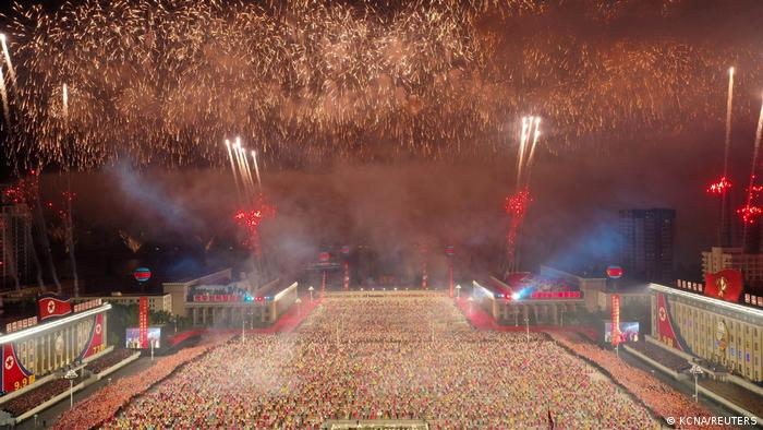 ireworks explode over a paramilitary parade held to mark the 73rd founding anniversary of the republic at Kim Il Sung square in Pyongyang in this undated image supplied by North Korea's Korean Central News Agency on September 9, 2021