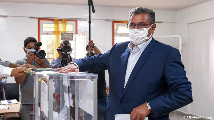 Aziz Akhannouch, president of the National Rally of Independents (RNI), casts his ballot in Agadir on September 8, 2021 as Moroccans vote in parliamentary and local elections