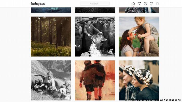 Verschiedene Instagram-Fotos, die Natur, Kinder oder historische Szenen zeigen