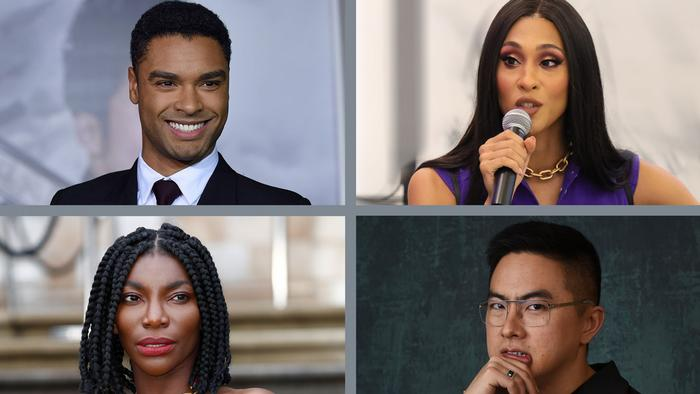 From top left: actors Rege-Jean Page, MJ Rodriguez, Michaela Coel and Bowen Yang