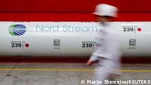 Логотип Північного потоку-2 на газовій трубі (архівне фото)
