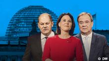 Startseite-Teaserbild für den Youtube Stream vom Triell (im LiveEventplayer). DW Bundestagswahl 2021 Triell Baerbock Laschet Scholz (YouTube)