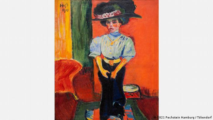 Цяло столетие на гърба на една картина с живи цветя от Макс Пехщайн се е криело това произведение. Картината Дама с шапка (1910) е била заличена от самия художик - вероятно защото не е харесвал работата си. Очевидно това, което днес разбираме като експресионизъм и си заслужава да бъде съхранено, навремето Пехщайн се е опитвал да скрие.