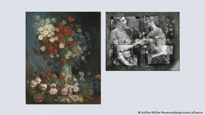 Винсент ван Гог сам е рисувал върху картините си. Финансите му са били твърде оскъдни, за да може да си купува нови платна. Върху двамата полуголи борци, които той рисува в Академията по изкуствата в Антверпен през 1885 или 1886 година, по-късно се появява Натюрморт с ливадни цветя и рози (1886). Чак през 2012 година обаче става ясно, че картината е дело на Ван Гог.