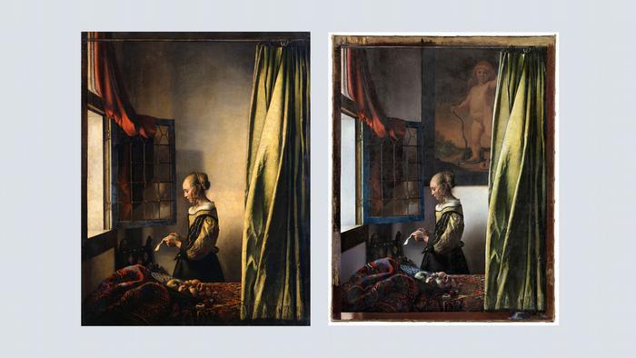 Винаги сме познавали известната творба на Йоханес Вермеер Момиче, четящо писмо до отворен прозорец (1657 - 1659) така, както е изобразена вляво. Преди 2 години експерти откриха скрита картина в нея: гол Купидон на стената, който е бил заличен с пласт боя. Междувременно картината на гениалния художник може да се види в оригинал на изложбата в Дрезден, посветена на Вермеер, до 2 януари 2022 г.
