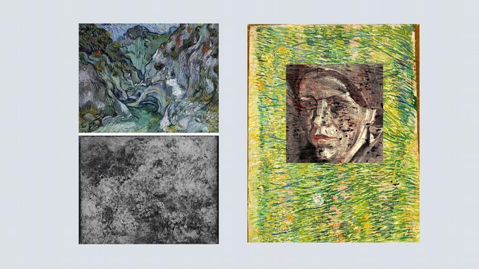 Други такива примери са Проломът (горе вляво), под която се крие друго негово произведение - Дива растителност (долу вляво). Двете картини са рисувани през период от 4 месеца. А под Пасища (вдясно на снимката) през 2008 година изследователи откриха портрет на жена чрез специален рентген.