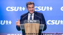 Markus Söder, CSU-Parteivorsitzender und Ministerpräsident von Bayern, spricht während dem Parteitag der Partei. Es ist der erste Präsenzparteitag der CSU seit dem Ausbruch der Corona-Pandemie. Auf der Tagesordnung steht unter anderem die turnusmäßige Neuwahl des CSU-Vorsitzenden.