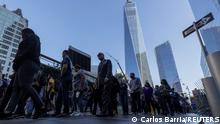 Members of the FBI arrive for a private ceremony near the One World Trade Center and 9/11 Memorial ahead of the 20th anniversary of the September 11 attacks in Manhattan, New York City, U.S., September 10, 2021. REUTERS/Carlos Barria