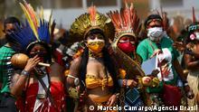 Marsch der Indigenen Frauen Wann wurde das Bild gemacht?: 10/09/2021 Wo wurde das Bild aufgenommen?: Brasília, Brasilien