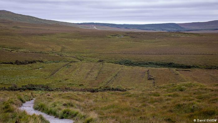 The view across a treeless peatland in Ireland