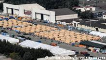 This picture taken on September 6, 2021 shows an aerial view of an Afghan refugee camp inside the US military base in Ramstein, Germany. - US Secretary of State Antony Blinken headed on September 5, 2021 via Ramstein to Qatar on his first trip since the Taliban takeover of Afghanistan as he seeks a united front with allies shaken by the chaos. (Photo by Olivier DOULIERY / POOL / AFP) (Photo by OLIVIER DOULIERY/POOL/AFP via Getty Images)