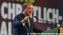 Christian Democratic Union (CDU) leader and chancellor candidate Armin Laschet addresses a congress of the CDU's sister party Christian Social Union CSU in Nuremberg, southern Germany, on September 11, 2021. (Photo by CHRISTOF STACHE / AFP) (Photo by CHRISTOF STACHE/AFP via Getty Images)