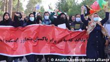 HERAT, AFGHANISTAN - SEPTEMBER 07: A group of Afghans stage a protest against Pakistan in Herat, Afghanistan on September 07, 2021. Protesters claim that Pakistan intervened in Panjshir conflict. Stringer / Anadolu Agency
