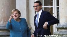 German Chancellor Angela Merkel meets with Polish Prime Minister Mateusz Morawiecki at Palace on the Isle in Royal Lazienki Park in Warsaw, Poland, September 11, 2021. REUTERS/Kacper Pempel