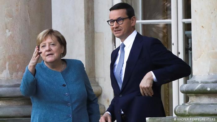 Анґела Меркель і Матеуш Моравецький під час зустрічі в Варшаві