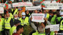 10.09.2021 Bulgarien Sofia Protest der Arbeiter im Straßenbausektor in Sofia, Bulgarien vom