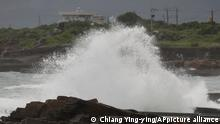 A high wave hits ashore as Typhoon Chanthu approaches to Taiwan in Keelung, New Taipei City, Taiwan, Saturday, Sept. 11, 2021. Taiwan's weather bureau warned of high winds and heavy rain as Typhoon Chanthu roared toward the island Saturday and said the storm's center was likely to pass its east coast instead of hitting land. (AP Photo/Chiang Ying-ying)